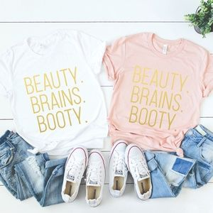 GOLD BEAUTY BRAINS BOOTY WORKOUT GYM CROSSFIT TEE